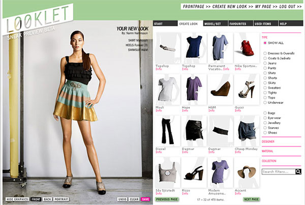 Looklet Virtual Studio For Fashion Design With Designer Clothes