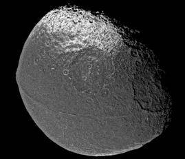 Iapetus in all its walnut-shaped glory.