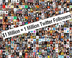 One million dollars equals one million Twitter followers