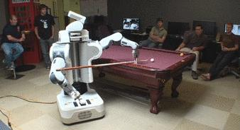 Robot pool playing. Always fun.