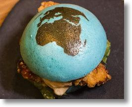 Earth Burger Features Crusty Blue Buns & A Fried Chicken Core