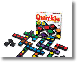 Qwirkle board game and pieces.