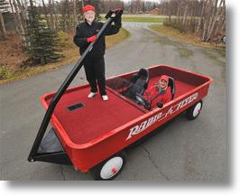 Alaska Couple Converts Pickup Truck To World's Largest Radio Flyer Wagon