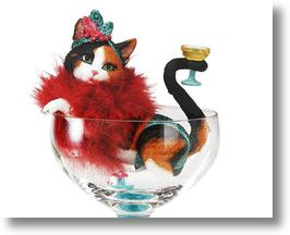 Cosmopurritan Cocktail Glass With Calico Cat Figurine
