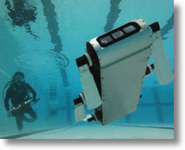 AQUA robot goes for a largely unassissted swim.