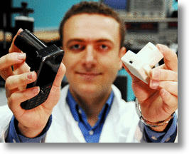 Aydogan Ozcan with his cellphone microscope.