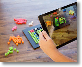iPad Capturing Picture of Bloxels Game Board