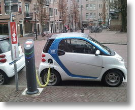 Electric car charging its battery. Photo by Ludovic Hirlimann.