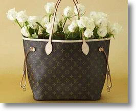 Louis Vuitton handbag with white monogrammed roses