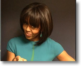 Hip First Lady Let's Those Bangs Fly on Twitter, YouTube & Jimmy Fallon