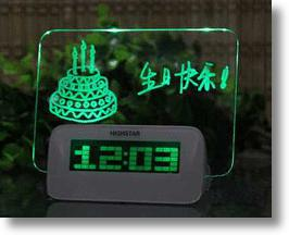 Highstar Digital Alarm Clock Displays Handwritten, Erasable, Fluorescent Messages