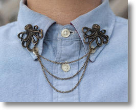 Steampunk Octopus Collar Clip