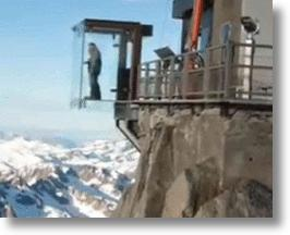 Glass Box Suspended Over the Alps