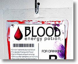 Blood Energy Potion, Authentic Looking Synthetic Blood Drink in a Transfusion Bag