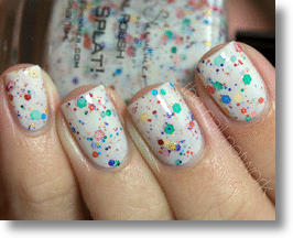 Oh Splat! White Nail Polish With Rainbow Glitter