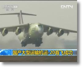 China's New Y-20 Heavy Transport Jet Takes First Flight