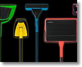 Casabella's neon line of cleaning tools