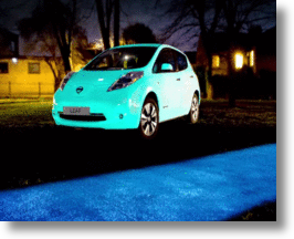 Nissan Leaf Absorbs UV Light By Day, Glows In The Dark At Night