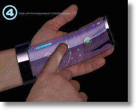 Rollerphone transparent retractable screen.