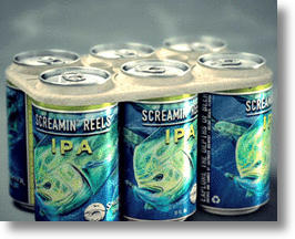 Edible Six-Pack Rings on Saltwater Brewery's Screamin' Reels Beer