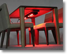 Heated Dining Room Table Warms Legs, Makes Dining Cool