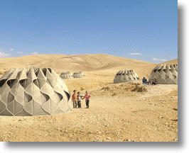 Collapsible Woven Refugee Shelters