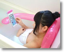 Thanko Air Bath Pillow Smartphone Holder