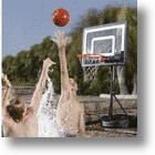 Hammacher Basketball Hoop Rolls From Pavement Court To Poolside In A Jiff