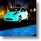 Nissan Leaf Absorbs UV Light By Day, Glows In The Dark At Night!
