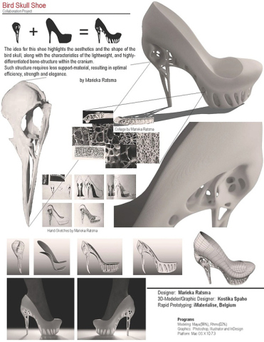 Bird Skull Shoe: designer notes and drawings: by Marieka Ratsma and Kostico Spaho
