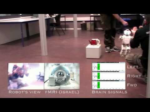 Robotic embodiment based on motor imaging: image via youtube.com