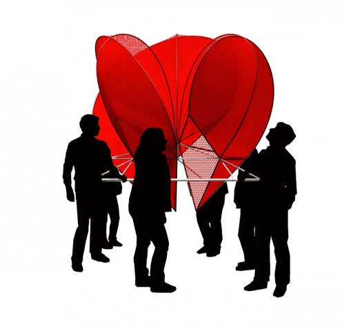 'Light Hearted' interactive heart, 'with a little helf from its friends': Courtesy of Freecell via ArchDaily.com
