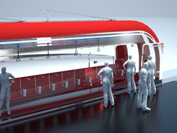 Inter Urban Eco Train, evening interior lighting is solar powered:  Francisco Lupin