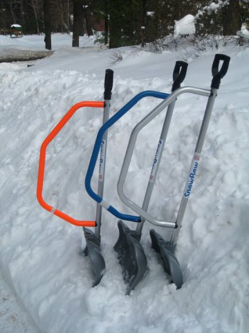 The SnowBow ergonomic shovel:  Elements Industrial Design Inc
