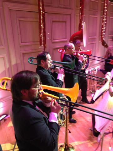 The Boston Symphony trombone section takes up the pBone for Boston Pops concert: Photo by Douglas Yeo, via Facebook.com/pBoneOfficial
