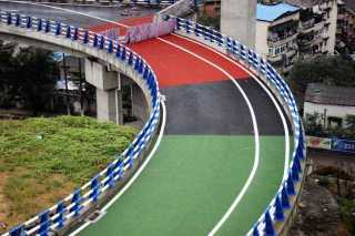 Colorfully Painted Road Ramps Assist Traction, Reduce Distraction