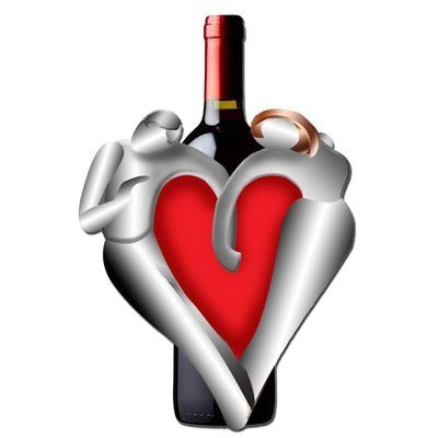 Valentine Lovers Wine Bottle Holder: Guenter Scholz for H&amp;amp;K Steel Sculpture