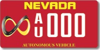 Google Autonomous Vehicle Nevada license plate