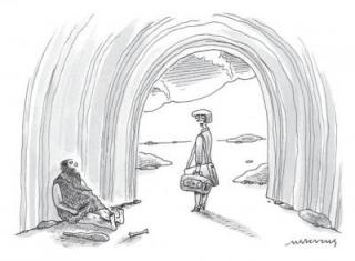 "Winning caption: ""Men just don't evolve."": © Mick Stevens/The New Yorker Collection/www.cartoonbank.com"