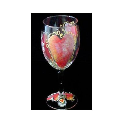 Bellisima Hand Painted Valentine Wine Glass