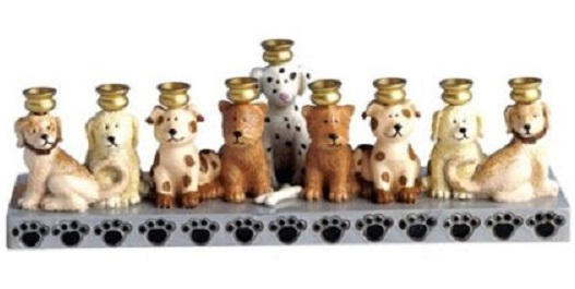 Earthenware Dog Menorah