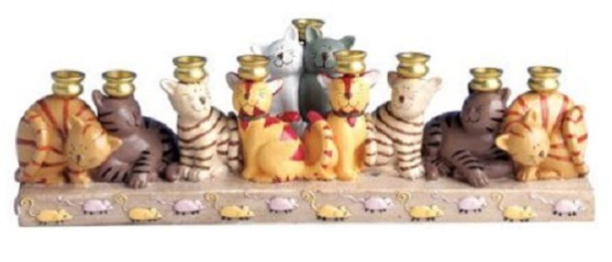 Earthenware Cat Menorah
