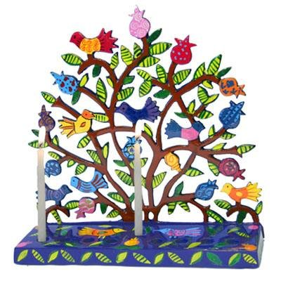 Tree Of Life Menorah With Birds and Pomegranates
