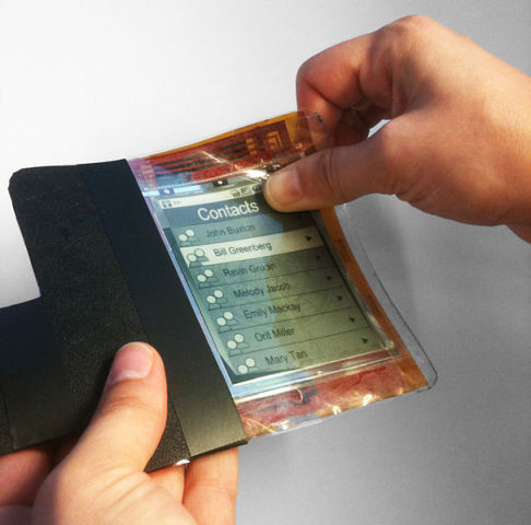 Flexible smart phone: this paper phone out of Queen's University is just one example of a device that will benefit from a printable, flexible battery.