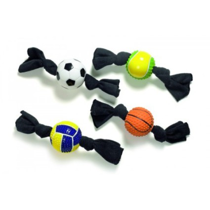 French Sport Balls With Cloth Ties Cat Toys: image via pattes-a-strass.com/