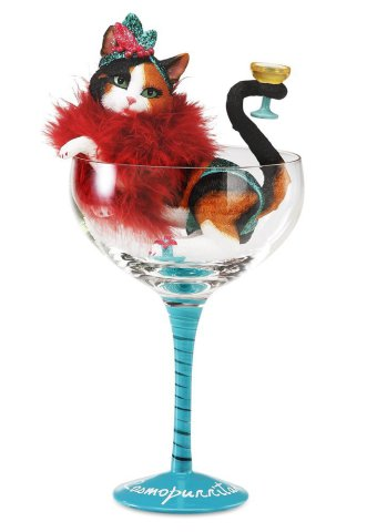 Cosmopurritan Cocktail Glass with Calico Cat Figurine: image via amazon.com