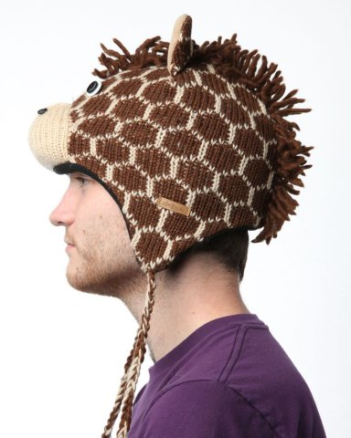 Delux Giraffe Brown Wool Pilot Animal Cap/Hat