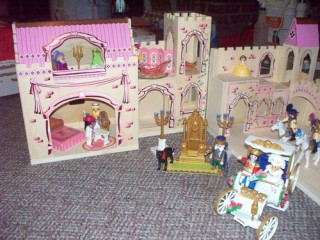 Folding princess castle: in all its unfurled glory.