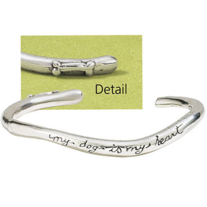 My dog is my heart silver band bracelet by Elaine Seamans