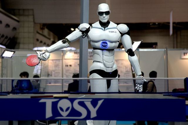 TOPIO: this ping pong playing robot, debuted in 2009, is an example of how far robotics has advanced. Image by Humanrobo.
